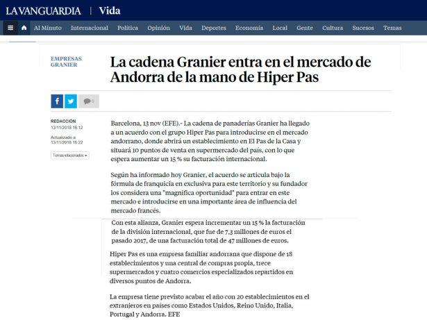 Granier Pas de la Casa a La Vanguardia